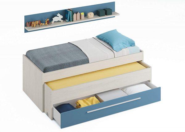 Habitación Juvenil con cama nido - Blanco y Azul