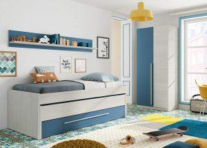 Habitación Juvenil con cama nido y estante de pared, armario y somieres incluidos con color blanco y azul