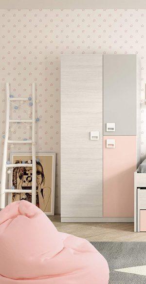 armario infantil rosa gris y blanco niña 2020