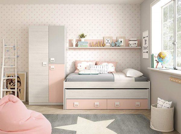 Armario ropero juvenil infantil 3 puertas blanco, gris y rosa