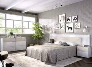 cabezal y dos mesitas blanco y gris ceniza dormitorio matrimonio 2020