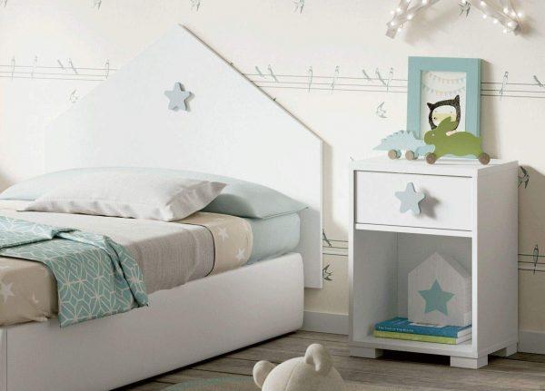 Cabezal cama infantil juvenil estrella blanco y gris