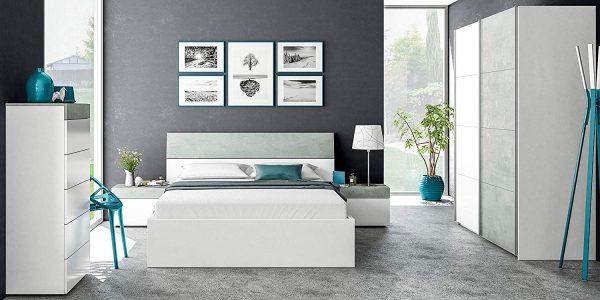 cabezal matrimonio blanco y gris cemento dormitorio 2020