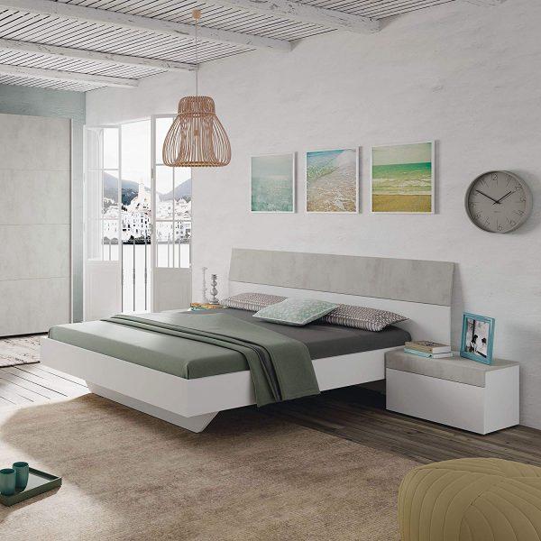 Cabezal y mesitas blanco y gris estilo moderno