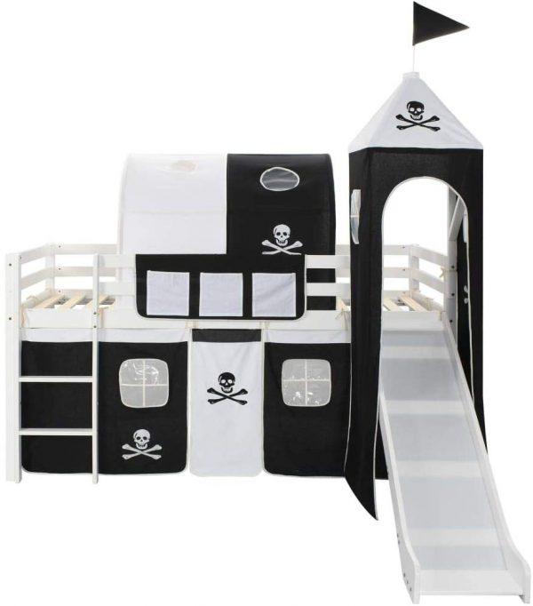 Cama alta infantil tobogán y escalera negro y blanco