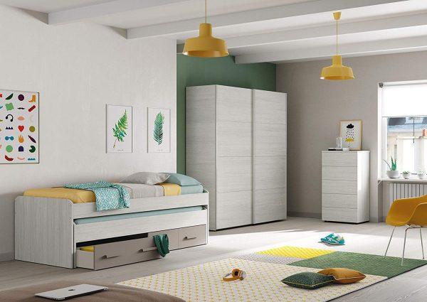 Cama doble juvenil 2 camas y dos cajones blanco y basalto
