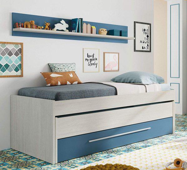 cama nido azul y blanco 2020