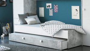 cama con cajonera estilo juvenil industrial 2020