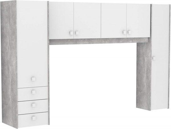 Dormitorio juvenil estilo industrial blanco y gris