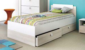 cama juvenil con dos cajones blanco y acacia 2020