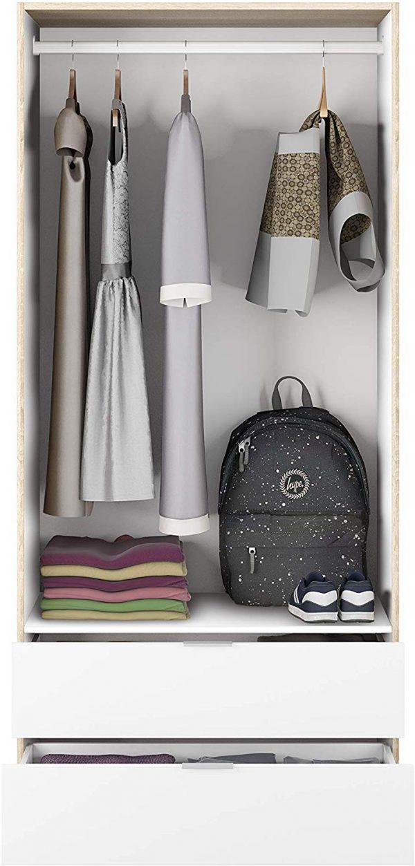 Dormitorio juvenil moderno blanco y roble