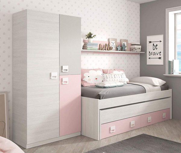 pack dormitorio juvenil niña rosa y blanco 2020