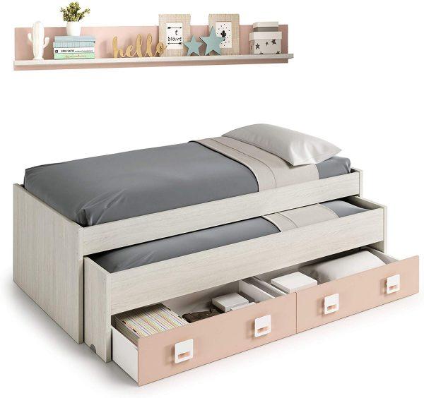 Dormitorio juvenil cama nido rosa y blanco