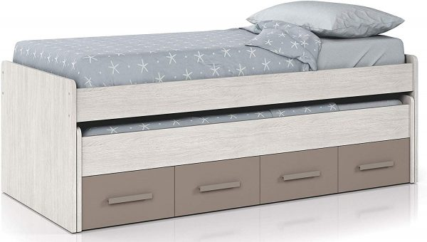 Dormitorio juvenil cama nido unisex basalto y blanco