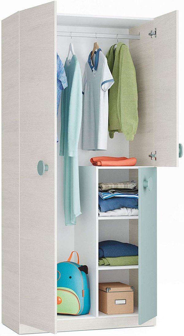 Dormitorio juvenil cama nido unisex verde y blanco