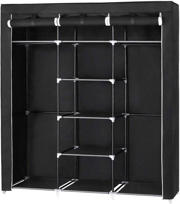 armario ropero textil plegable negro