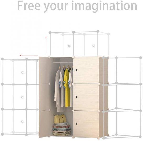 Armario ropero modular madera 12 cubos