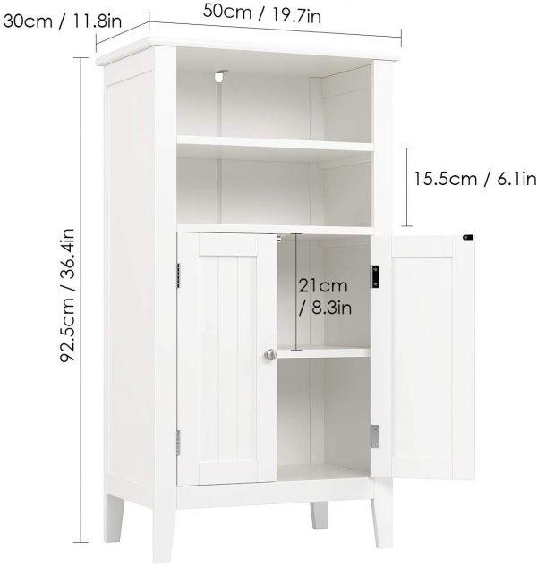 Armario almacenaje 4 compartimentos 2 puertas blanco