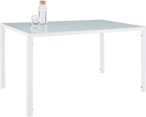 Conjunto de mesa y 4 sillas de comedor vidrio y blanco