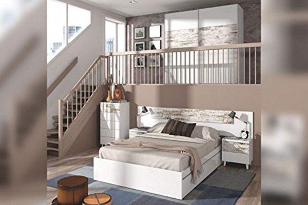 Dormitorio matrimonio estilo vintage blanco y decapé
