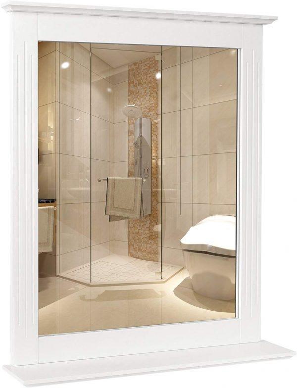 espejo de baño con balda blanco
