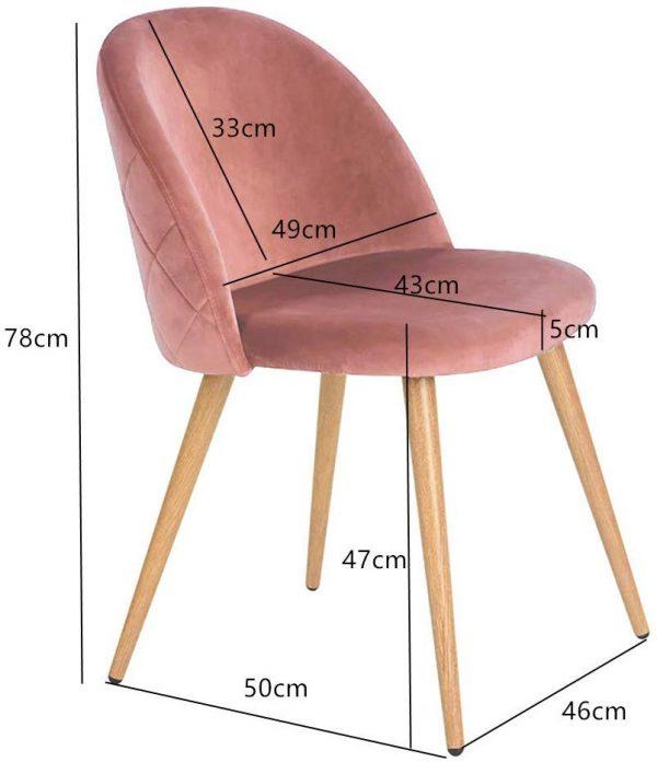 Juego 2 sillas comedor tapizadas terciopelo