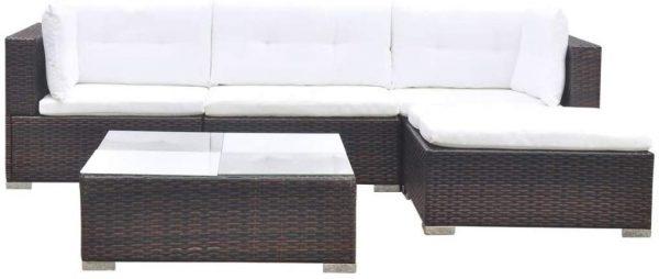 Juego de muebles de jardín 14 piezas poli ratán marrón
