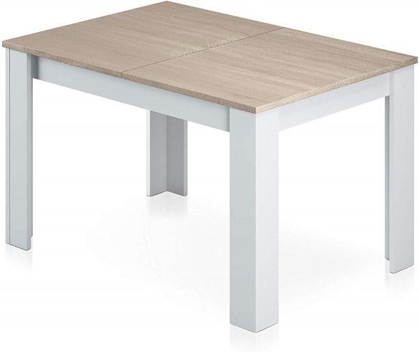 Mesa de salón extensible blanco y roble