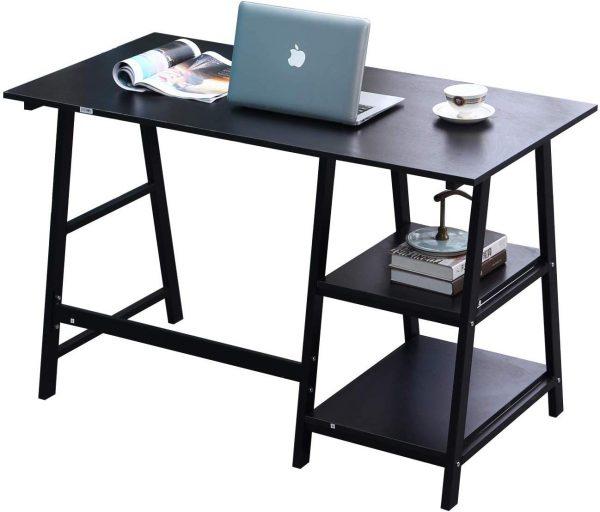 mesa de trabajo madera y acero negro