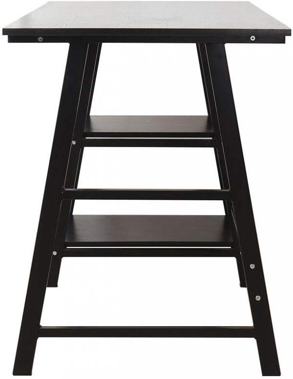 Mesa de trabajo madera y acero, negro