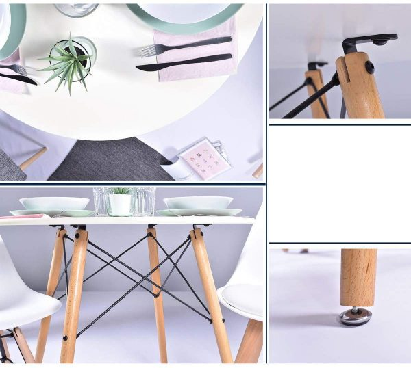 Mesa redonda moderna nórdica madera y blanco