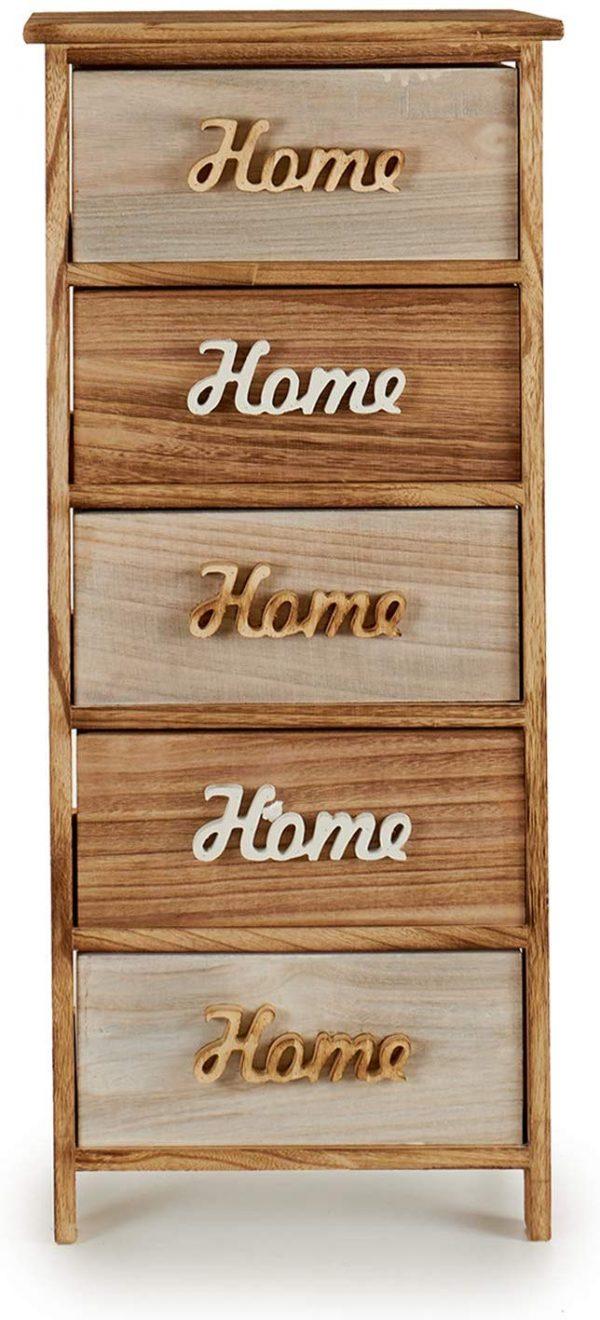 Mueble auxiliar madera 5 cajones