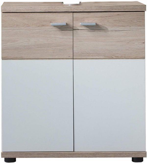 mueble baño base para lavabo en blanco y roble claro