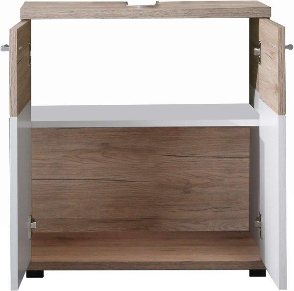 Mueble baño base para lavabo blanco y roble claro