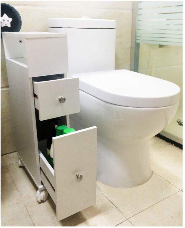 Mueble baño con ruedas y dos cajones, carrito