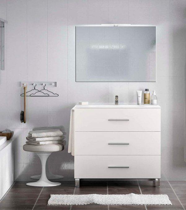 mueble de baño con lavabo, cajones y led