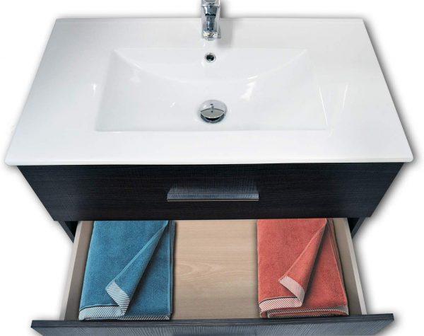 Mueble baño con lavabo, 3 cajones y toallero, con LED