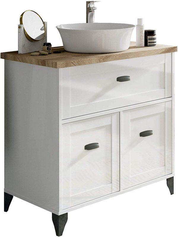 Mueble baño vintage blanco y cambrian