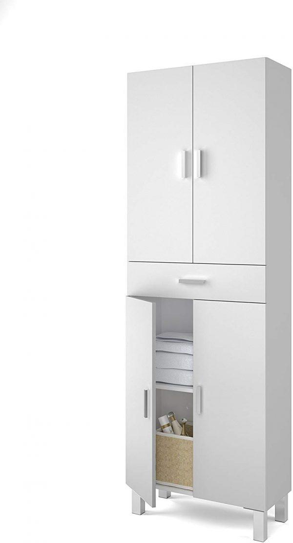 Mueble baño 2 puertas superiores e inferiores y cajón blanco