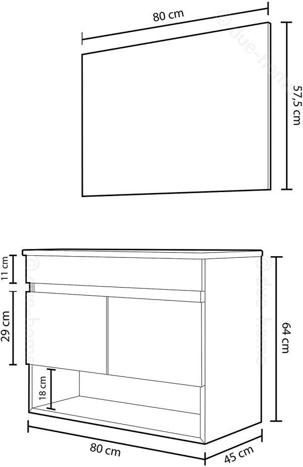 Mueble de baño 2 puertas y espejo