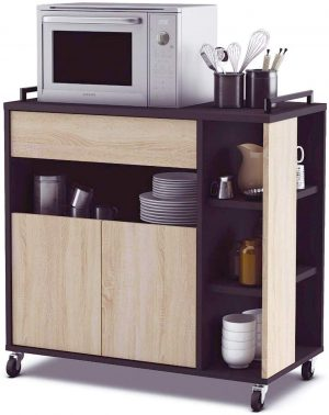 mueble auxiliar microondas negro y roble