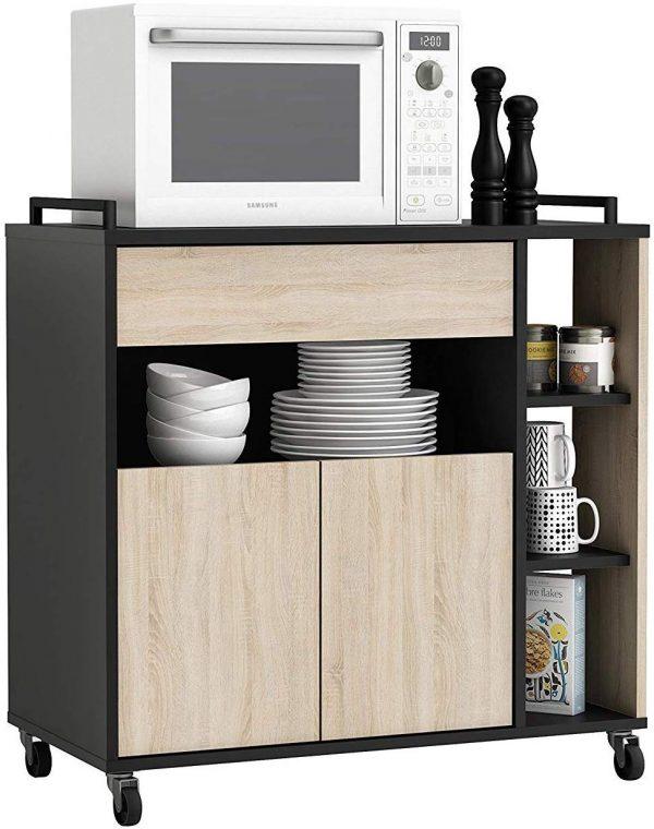 Mueble de cocina auxiliar microondas negro y roble