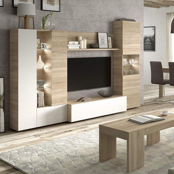 Mueble de comedor con Leds blanco y roble