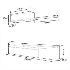 Mueble de salón comedor moderno gris ceniza