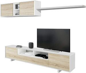 mueble de salon moderno blanco y roble 2020