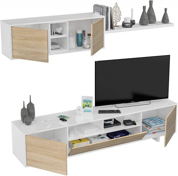 Mueble de salón moderno blanco y roble