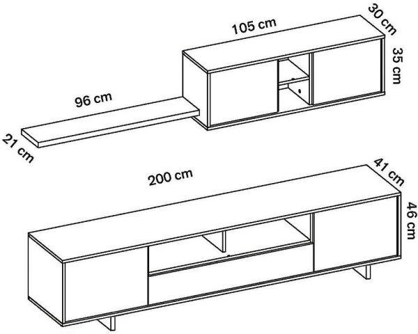 Mueble de salón moderno cambrian grafito