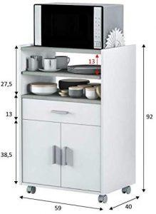 Mueble de cocina auxiliar microondas blanco