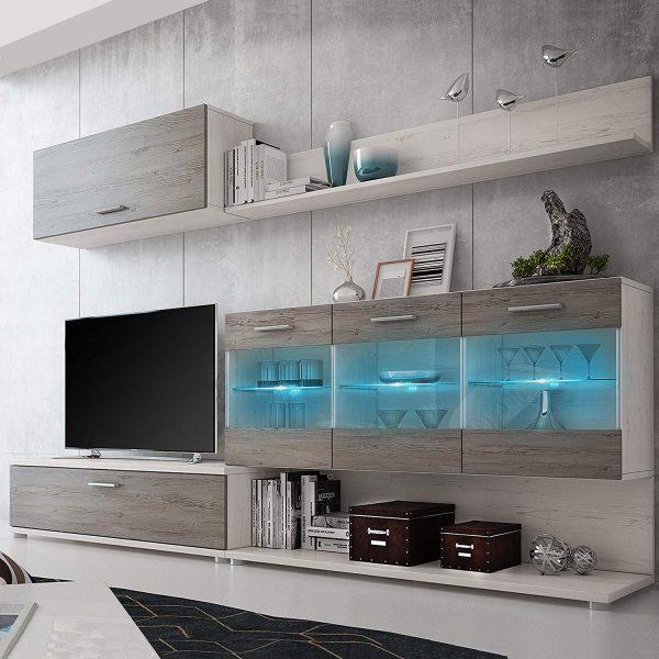 Mueble de salón comedor vitrina pino y gris