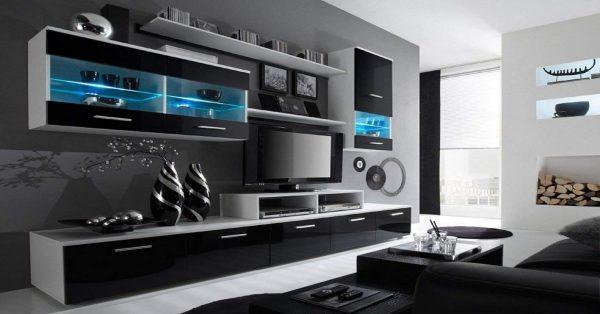Mueble de salón moderno blanco y negro